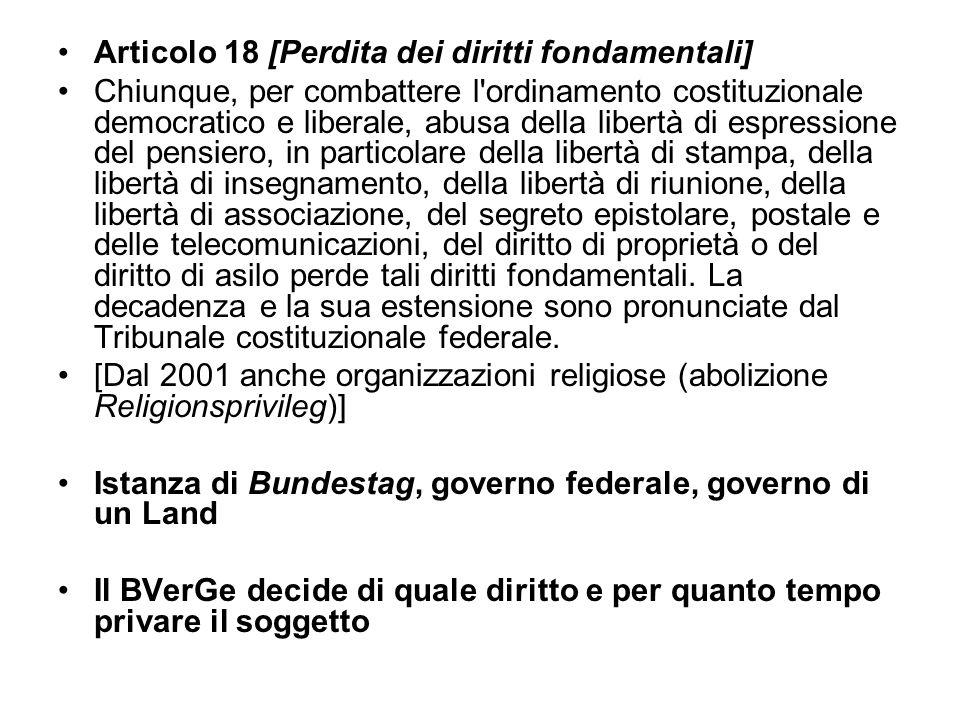 Articolo 18 [Perdita dei diritti fondamentali]
